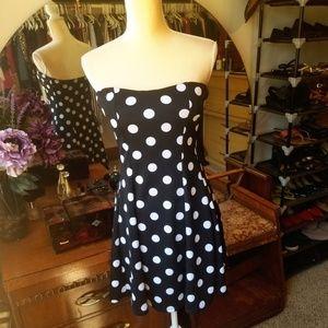 Strapless Polka Dot Dress